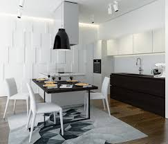 captivating white kitchen design idea with mirrored backsplash and