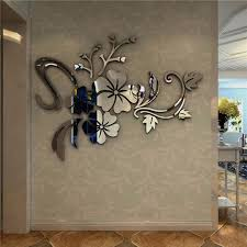 mirror decals home decor removable 3d floral mirror decal art vinyl acrylic wall sticker