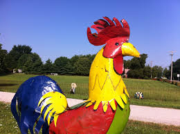 96 large metal rooster yard sculpture