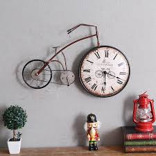 retro personality bike design hanging wall clock vintage creative