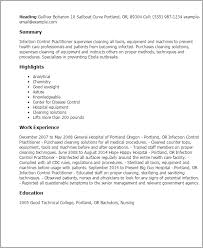 Health Care Resume Sample by Professional Infection Control Practitioner Templates To Showcase