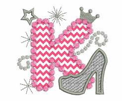 pink silver letter k high heel shoe for applique