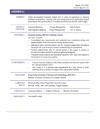 Resume Business Analyst Sample by Resume Profile Summary For Business Analyst Contegri Com
