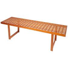 mid century modern slat teak bench coffee table by lovig nielsen