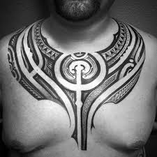 collection of 25 black polynesian chest tattoos