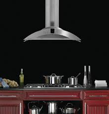 Kitchen Island Ventilation Ceiling Cool Stainless Steel Island Vent Hood With Red Wooden