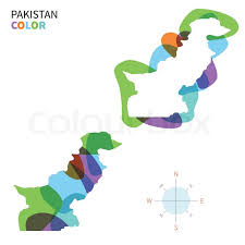 abstract vector color map of pakistan with transparent paint