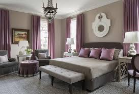 purple and gray bedroom with mismatched nighstands contemporary