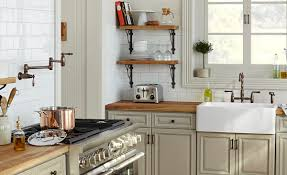 french modern kitchen pot filler faucet with kitchen shelving and white subway tile also