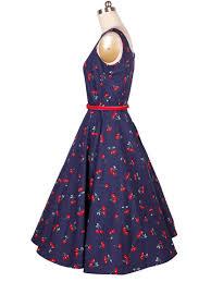 cherry printed blue sleeveless boat collar audrey hepburn vintage