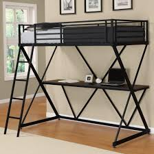 Twin Metal Loft Bed With Desk Metal Loft Bed With Futon And Desk Best Home Furniture Decoration
