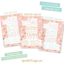 pink and gold 1st birthday invitations blush pink gold