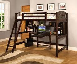 here s another bed with rich dark stained wood construction the desk component is fully equipped