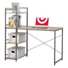 Book Case Desk Desk With Built In 4 Shelf Bookcase Natural Wood Homestar Target