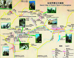 Forest Park Map Zhangjiajie National Forest Park China China Map