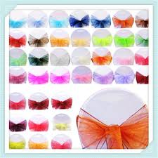 Chair Bows For Weddings Fedex Free Shipping 100pcs 24 Colors Organza Chair Sashes Bows For