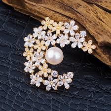 moon flower design pearl brooches big pearl 11 12mm gold gold