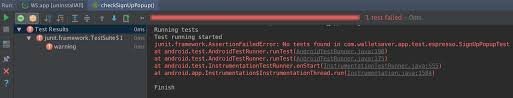 android junit4 assertionfailederror no tests found stack
