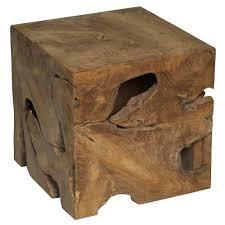 teak wood side table rolando rustic lodge teak wood cube side table kathy kuo home