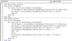 selecting all checkboxes using a single checkbox in excel
