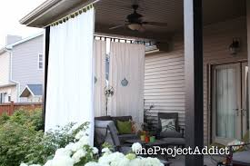 decorating interesting white and blue outdoor curtain panels with