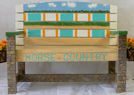 painted benches and planters around purcellville slide show