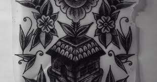 cosmic dwelling dotwork rose and floating castle tattoo design