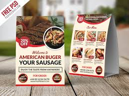 Table Tents Template Restaurant Table Tent Template Free Psd Psdfreebies Com
