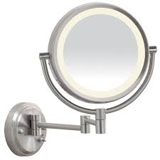 Round Bathroom Mirrors by Shop Conair 16 875 In W X 12 625 In H Brushed Nickel Round
