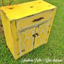 chalk paint yellow refinished cabinet monogrammed annie sloan