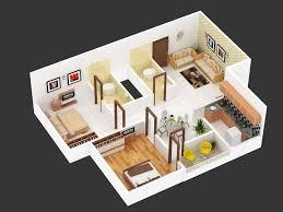 2bhk floor plan isometric view design for hastinapur smart village