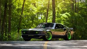 Mustang Black And Green Cars Muscle Cars Vehicles Ford Mustang Harbinger Front Angle View
