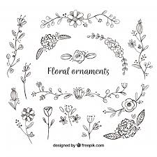 set of flower ornaments vector free