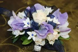 purple corsage purple and white wrist corsage in torrance ca andes florist