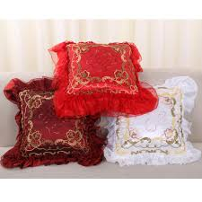 Cushion Core Supply Embroidered Bed Pillow Pillowcase With Fungus Waist Pillow