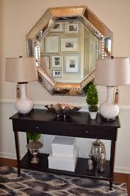 narrow entryway console table foyer decor with entryway console table and large silver mirror