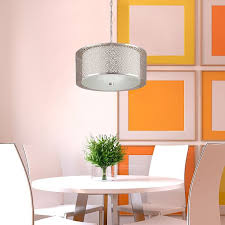 Drum Shade Chandelier Lowes Shop Portfolio Eyerly 17 32 In W Chrome Pendant Light With Fabric