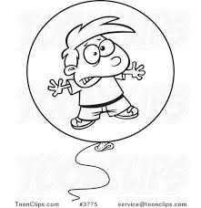 cartoon black and white line drawing of a boy floating in a bad