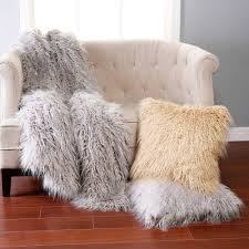 Mongolian Lamb Cushion Bed Bath Warm Up Your Sofa And Using Faux Fur Throw Cool Grey