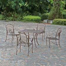 Wrought Iron Patio Furniture Set by Shop International Caravan Sun Ray 5 Piece Hammered Bronze Wrought