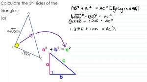 finding the third side of a right angled triangle grade 9 youtube