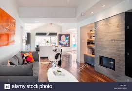 looking into a modern kitchen through a living room with a