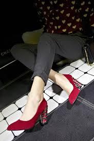women fashion nubuck pu metal decoration black blue red bottom