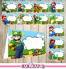 24 super mario bros food tent cards instant download printable