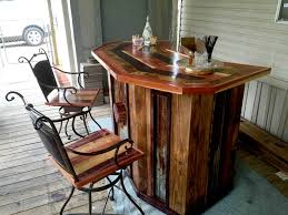 diy pallet wood bar with chairs