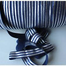cheap ribbons silver foil stripe fold elastic ribbon 100y for navy best