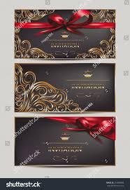 Invitation Cards Design With Ribbons Elegant Invitation Cards Floral Design Elements Stock Vector