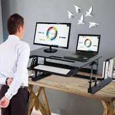 Schreibtisch H Enverstellbar G Stig Homcom Sitz Steh Aufsatz Computertisch Schreibtisch Real