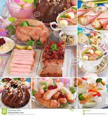 easter dishes traditional collage with traditional easter dishes stock photo image