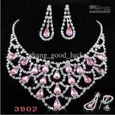 pink rhinestone necklace images Pink bridal jewelry set rhinestone necklace earrings suits bride jpg